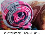 rolled woolen polar fleece... | Shutterstock . vector #1268320432