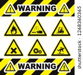 set of triangle yellow warning... | Shutterstock .eps vector #1268360365