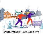 ski resort banner illustration... | Shutterstock .eps vector #1268385295