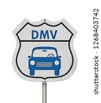 Visit to the DMV Highway Sign, Icon of a car and text DMV on a highway sign isolated over white 3D Illustration
