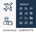 airport icon set and person...