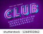 neon light 3d alphabet  extra... | Shutterstock .eps vector #1268502862