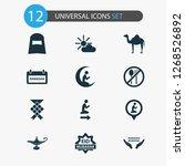 Ramadan Icons Set With Not...