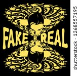 fake or real. vector hand drawn ... | Shutterstock .eps vector #1268557195