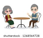 set of happy family grandfather ... | Shutterstock .eps vector #1268564728