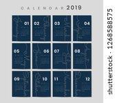 blue calendar 2019 poster vector | Shutterstock .eps vector #1268588575