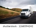 white big rig semi truck with... | Shutterstock . vector #1268594242