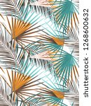seamless tropical palm leaves... | Shutterstock . vector #1268600632