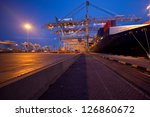 moored container ship and... | Shutterstock . vector #126860672