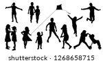silhouettes of children in... | Shutterstock .eps vector #1268658715