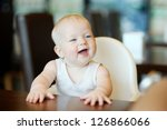 six month old baby girl sitting ... | Shutterstock . vector #126866066