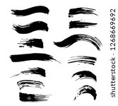 set of black paint  ink brush... | Shutterstock .eps vector #1268669692