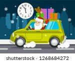 merry santa claus on a car... | Shutterstock .eps vector #1268684272