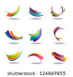 abstract 3d icon set with...