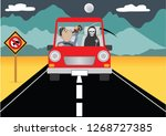 man driving his car while... | Shutterstock .eps vector #1268727385