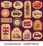 vector set of vintage labels... | Shutterstock .eps vector #126874616