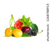 berry mix low poly. fresh ... | Shutterstock . vector #1268788915