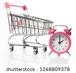 time to buy. watch and trolley... | Shutterstock . vector #1268809378