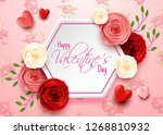 Stock vector valentines day greeting card with flowers background 1268810932