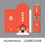 chinese new year red packet or... | Shutterstock .eps vector #1268821408