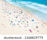 a vibrant aerial view of people ... | Shutterstock . vector #1268829775