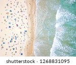 a vibrant aerial view of people ... | Shutterstock . vector #1268831095