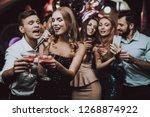 selfie. sing and drink. black...   Shutterstock . vector #1268874922