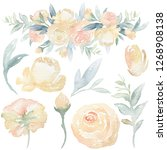 watercolor hand painted floral... | Shutterstock . vector #1268908138