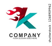 fast letter k logo with fire... | Shutterstock .eps vector #1268909962