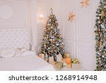 cozy snowy new year's interior | Shutterstock . vector #1268914948