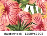 green red exotic pattern.... | Shutterstock .eps vector #1268963308