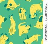 cute dogs seamless pattern.... | Shutterstock .eps vector #1268969512