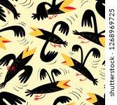 funny birds seamless pattern... | Shutterstock .eps vector #1268969725