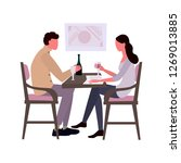 a young girl and a guy sit at...   Shutterstock .eps vector #1269013885