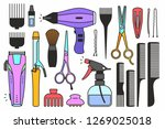 barber shop tools. isolated on... | Shutterstock . vector #1269025018