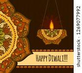 happy diwali festival concept...   Shutterstock . vector #1269077992