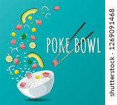 hawaiian poke tuna bowl with...   Shutterstock .eps vector #1269091468