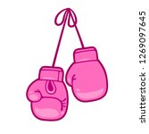 girly pink boxing gloves vector ... | Shutterstock .eps vector #1269097645