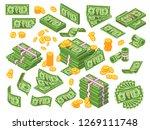 cartoon money. dollar bills...   Shutterstock . vector #1269111748