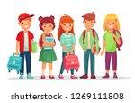group teen pupils. school boys... | Shutterstock . vector #1269111808