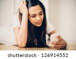 sad teeange girl video... | Shutterstock . vector #126914552
