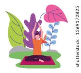 woman practicing yoga outdoors... | Shutterstock .eps vector #1269172825