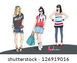 fashion teenagers | Shutterstock . vector #126919016