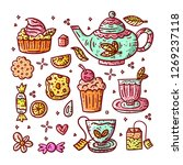 hand drawn tea party... | Shutterstock .eps vector #1269237118
