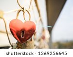 Heart Shaped Love Lock Hanging...