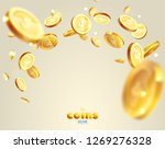 realistic gold coins explosion. ... | Shutterstock .eps vector #1269276328