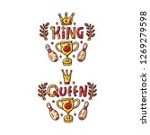 queen and king. bowling prints. ... | Shutterstock .eps vector #1269279598