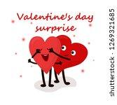 cute hearts couple  surprise... | Shutterstock .eps vector #1269321685