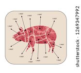 pig. set of sliced meat. a... | Shutterstock .eps vector #1269347992