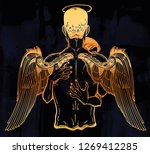 woman hugs a guardian angel man ... | Shutterstock .eps vector #1269412285